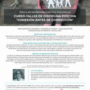 """CURSO-TALLER DE DISCIPLINA POSITIVA  """"CONEXIÓN ANTES DE CORRECCIÓN"""""""